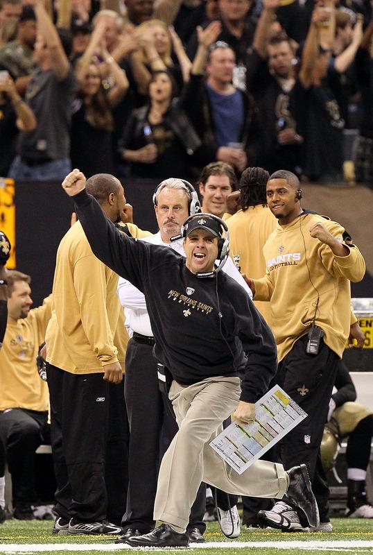 Rozradowany Sean Payton trener Saints. PHOTO @ Getty Images / Jed Jacobsohn